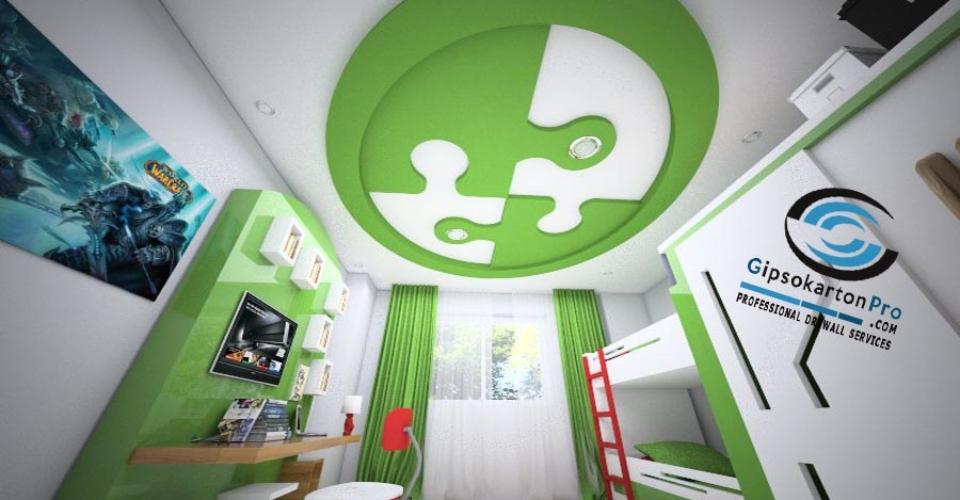 Окачен таван за детска стая зелен пъзел