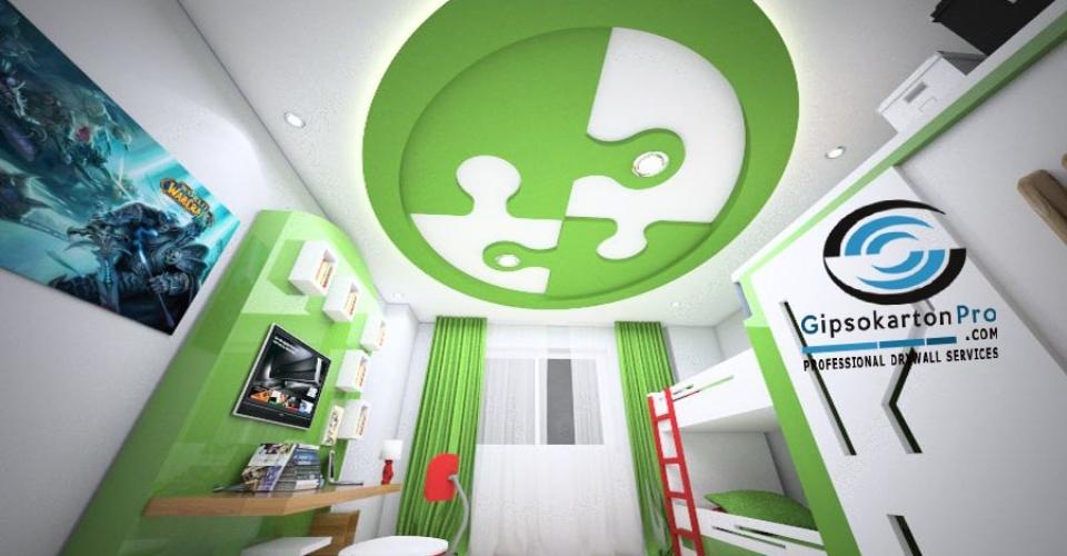 Идея за окачен таван в детска стая