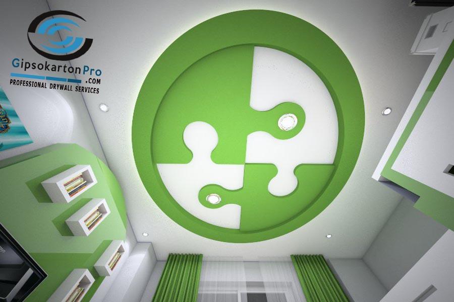 Окачени тавани Бургас Таван от гипсокартон с фигура за детска стая