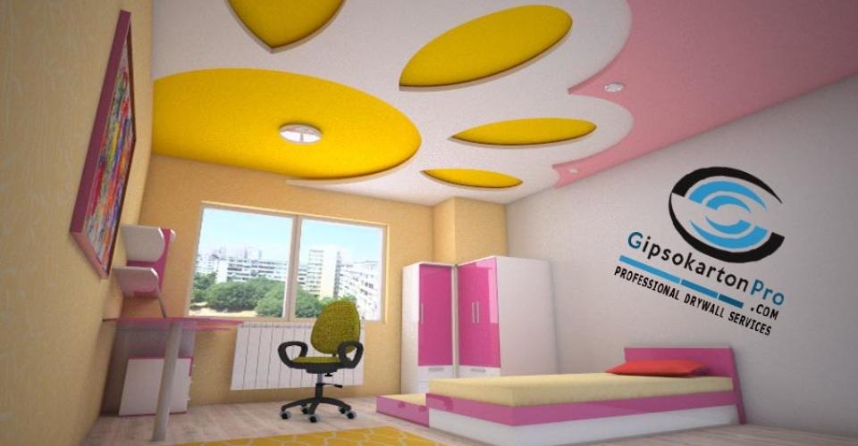 Окачен таван със скрито осветление в детска стая