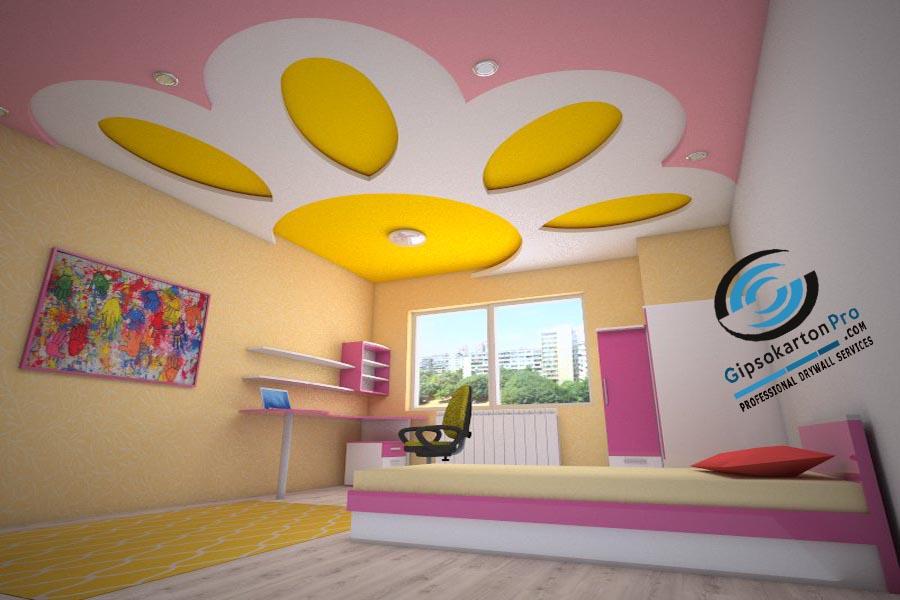 Триизмерна визуализация на окачен таван за детска стая