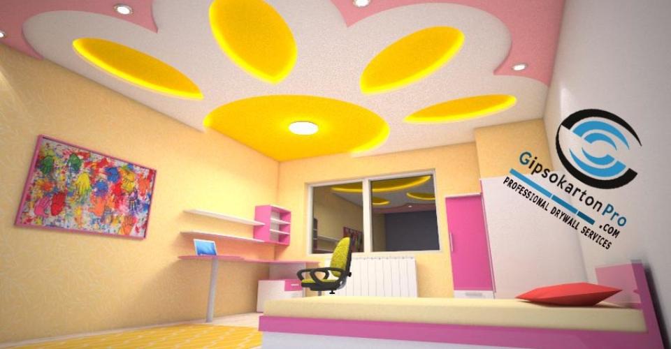Монтаж на окачени тавани в Бургас . Слънце в детска стая .
