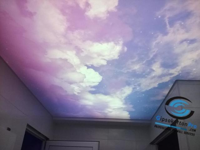 Опънати тавани за баня с фотопечат и лед осветление
