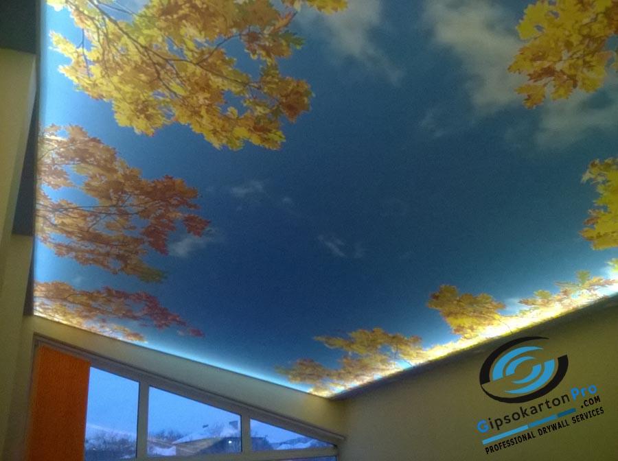 Опънати тавани с фотопечат и лед осветление само по периферията