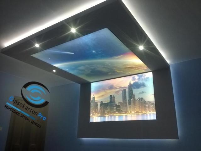 Опънати тавани в рамка от гипсокартон