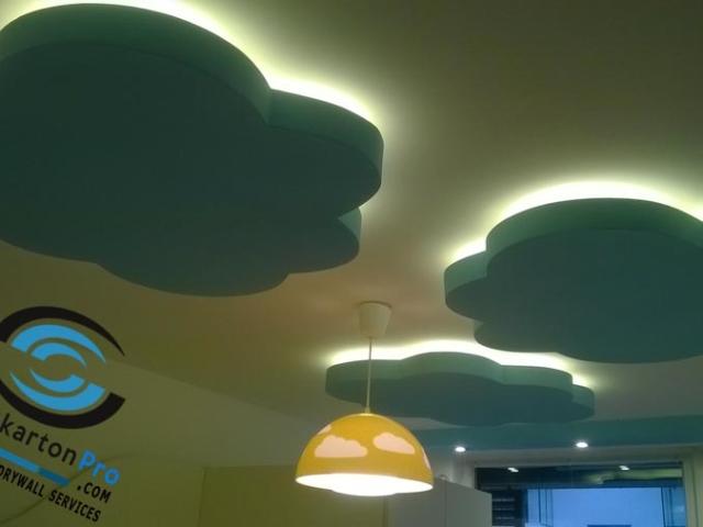 Окачени тавани Бургас . Фигури от гипсокартон по окачен таван в детска стая