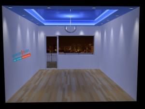 Гланцитан опънат таван . Взаимодействие със светлината .