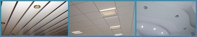 Колаж от окачени тавани растерен ламелен и окачен таван от гипсокартон за Бургас Варна и София