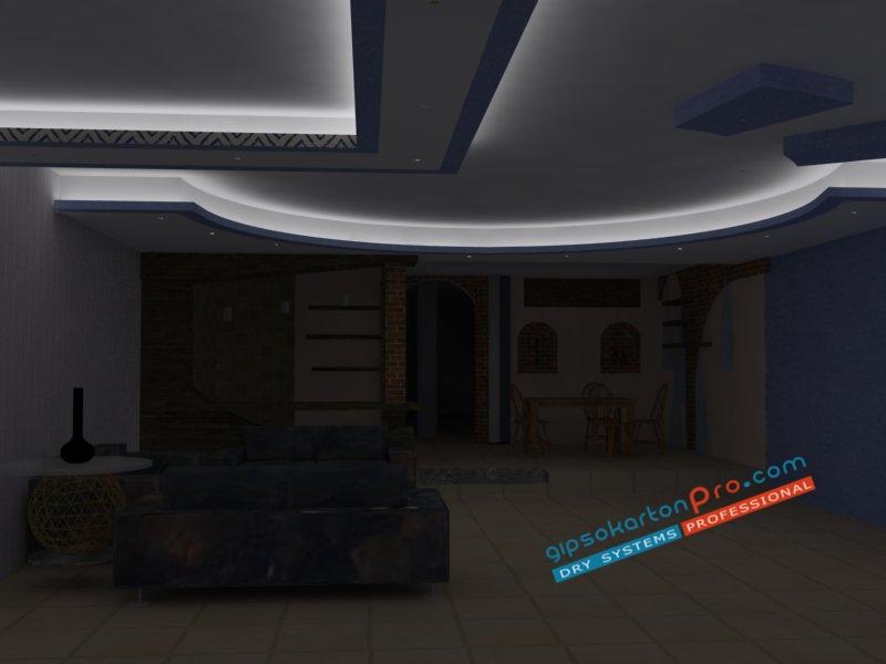 Монтаж на окачени тавани във Варна , Бургас и София .Таван от гипсокартон подходящ за просторен хол с включено замо декоративно индиректно осветление.