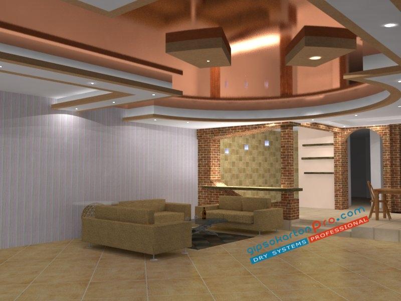Опънати тавани тип гланц в комбинация с окачен таван .Този таван е подходящ за просторен хол.Гипсокартон Про изпълнява опънати тавани в Бургас и Варна.