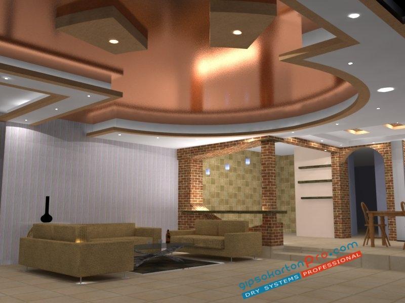 3д проектиране и изработна на опънати тавани в същетание с окачени тавани.
