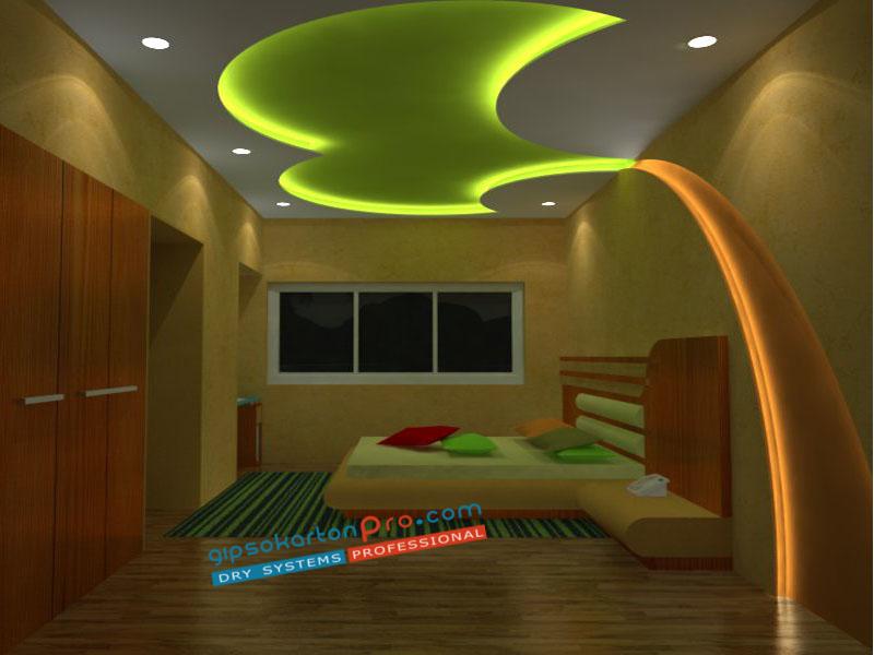 Окачени тавани за спалня с декоративни елементи палма .Изпълнени от гипсокартон .