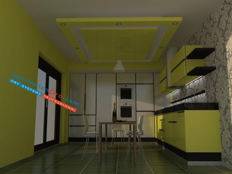 Интериорен дизайн на окачени тавани Бургас.Цени за окачени тавани в кухня.