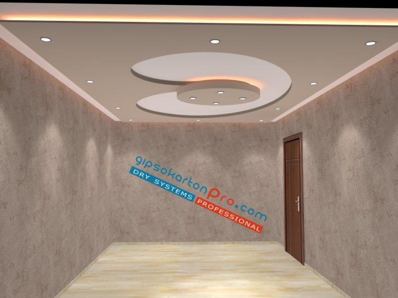 Окачен таван от гипсокартон със скрито осветлене по периферията и лунички като основно осветление.
