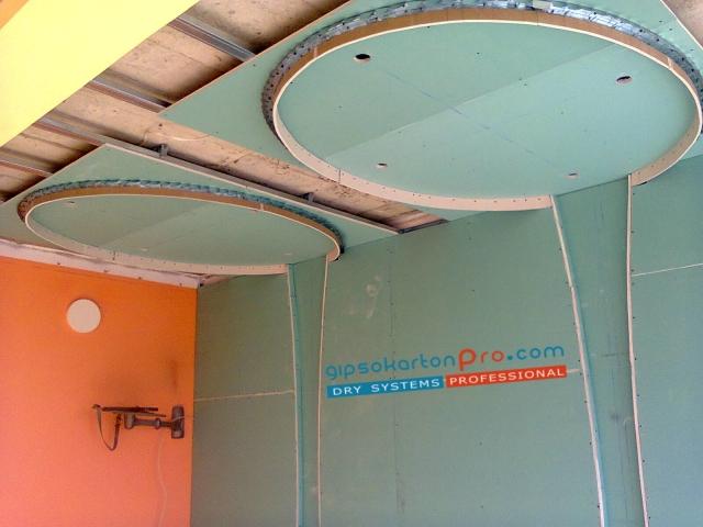 Приморско 2014 - как правим окачени тавани с овални форми.