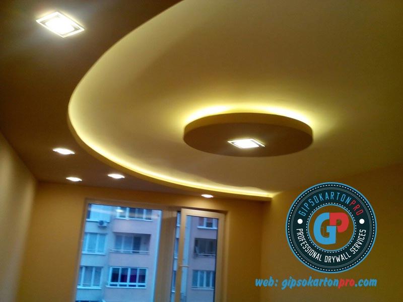 Окачен таван от гипсокартон с индиректно осветление и лунички в София