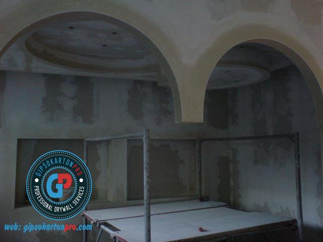 Окачени тавани Бургас . Вдлъбнат и изпъкнал кръг от гипсокартон