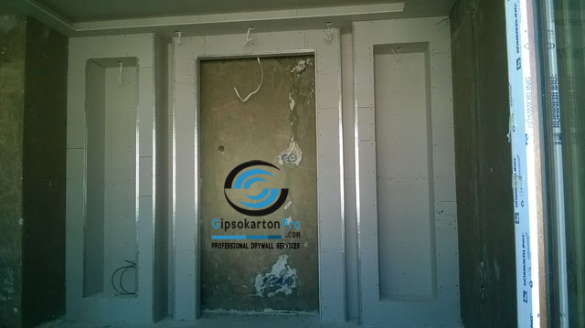 Гипсокартон Бургас Телевизионна стена с ниши