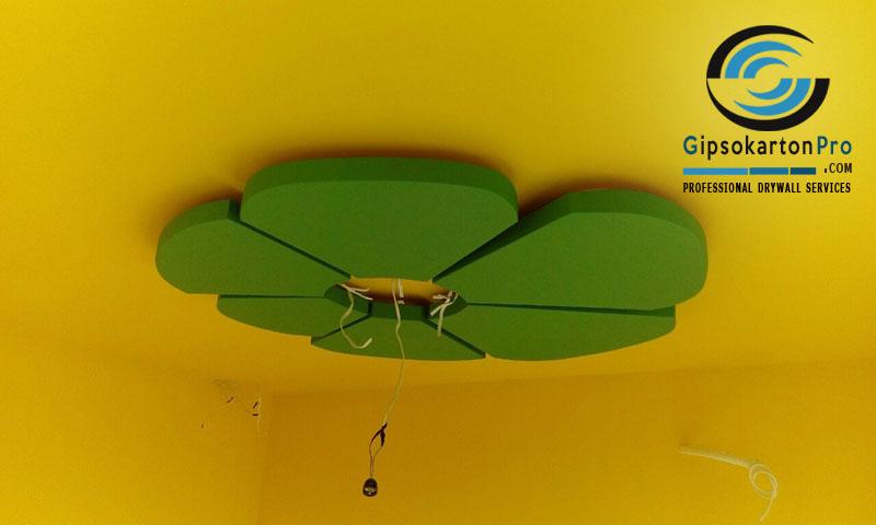 Окачени тавани с декоративни елементи . Цвете от гипсокарон