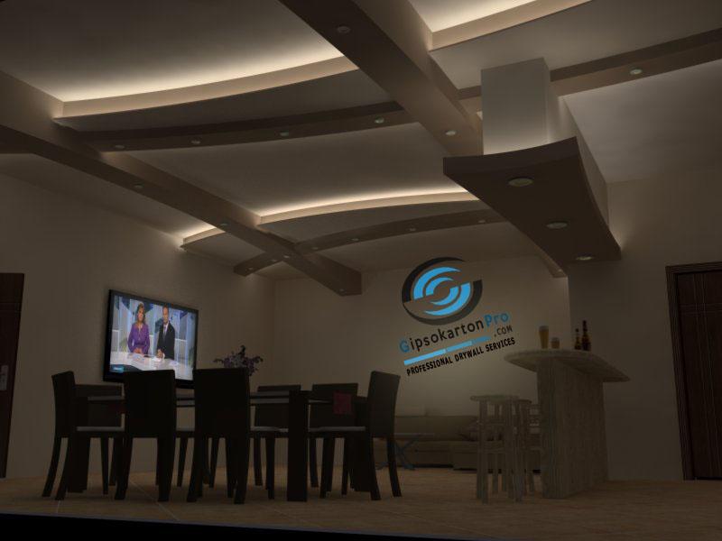 Окачен таван със скрито осветление в Бургас