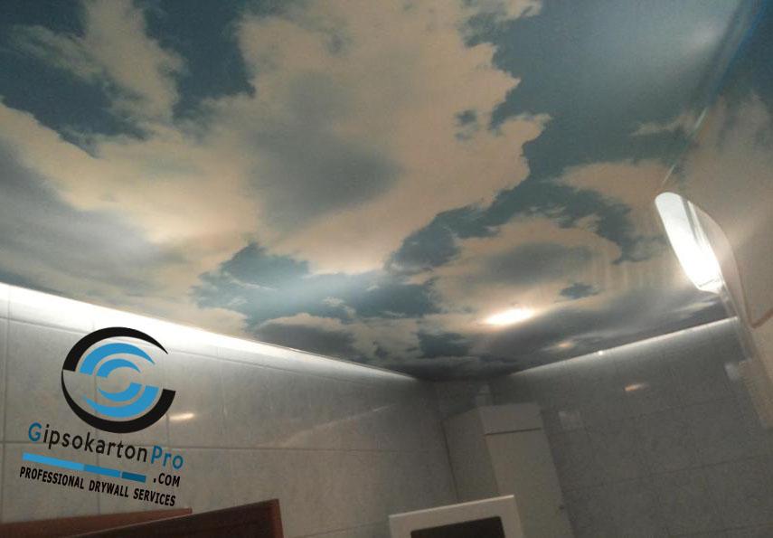 Опънат таван с фотопечат небе с облаци