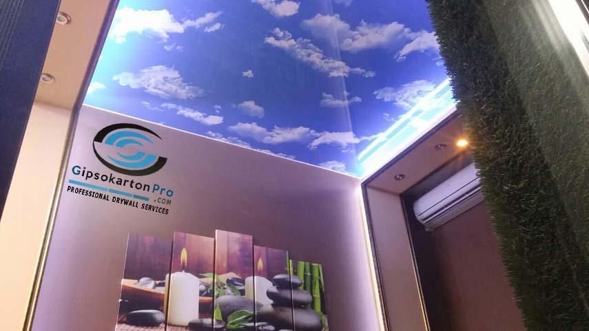 Опънаи тавани Бургас Небе с облаци