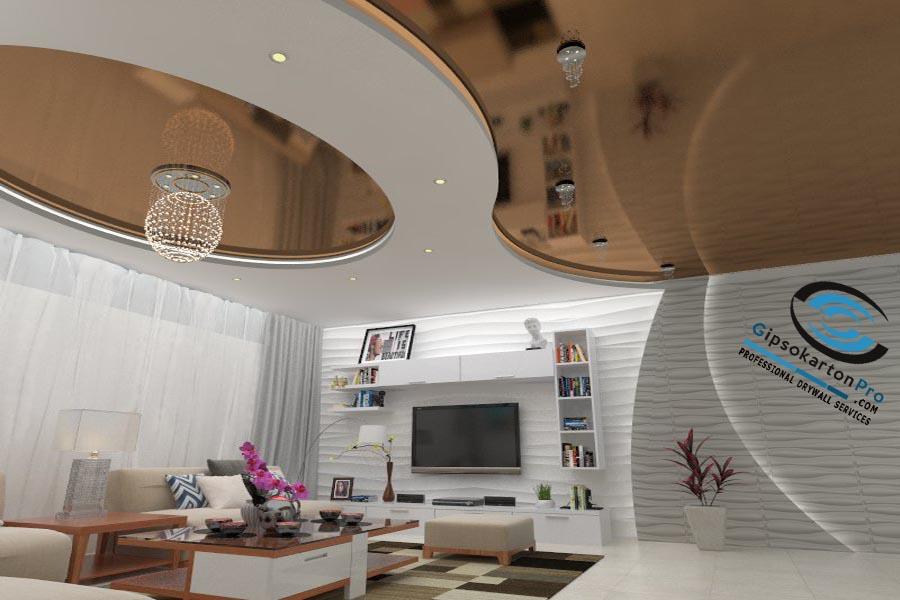 окачен таван за хол в Бургас Триизмерен проект и реакизация