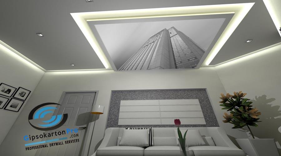 Опънат таван с 3Д ефект в хол