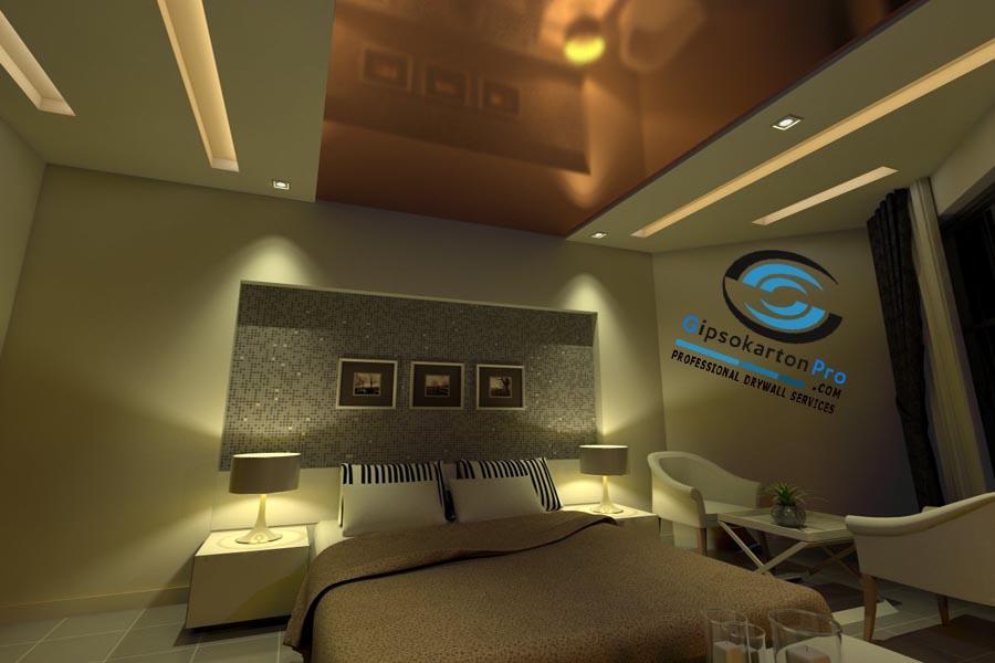 Окачен таван за спалня