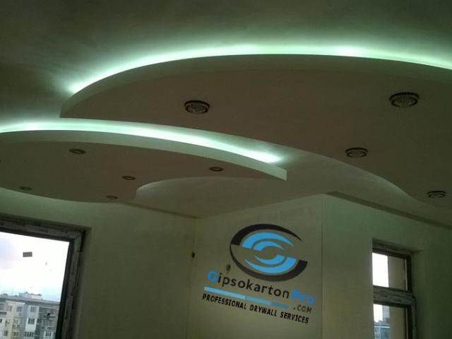 Фигури от гипсокартон със скрито осветление