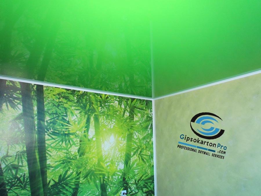 Опънат таван зелен гланц с осветление в съчетание с фототапет.