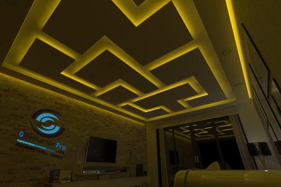 3Д проект за окачен таван в малък хол