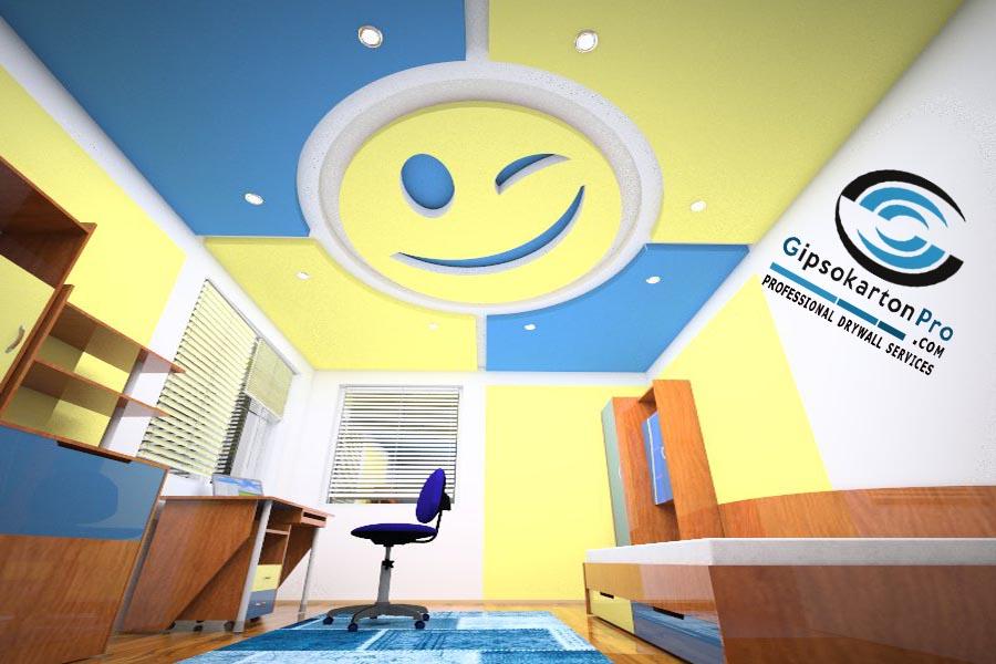Проект за окачен таван в детска стая Бургас 2018г