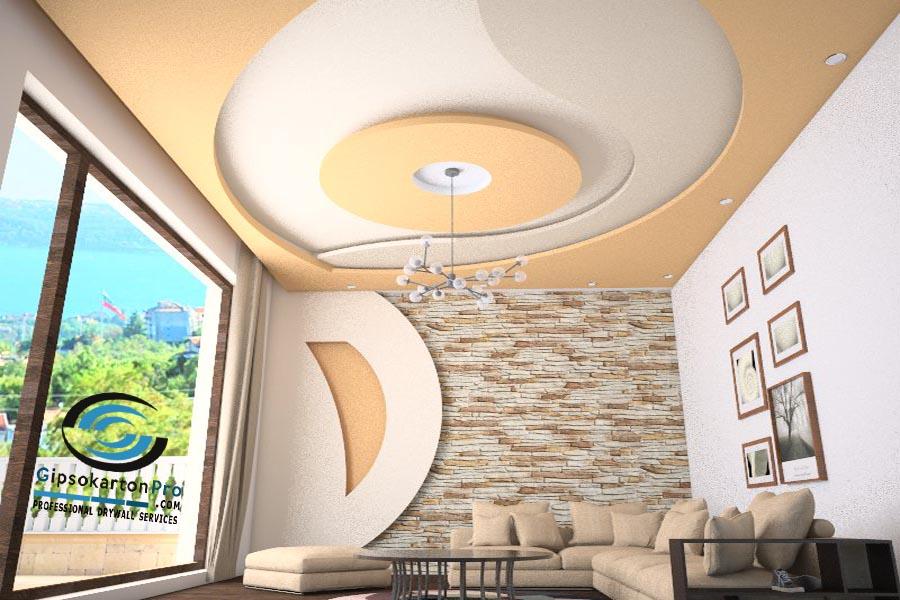 Окачени тавани за малък хол Бургас 2018