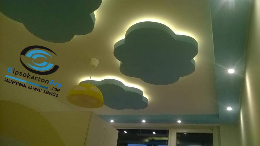 Окачени тавани за детска стая с фигури от гипсокартон
