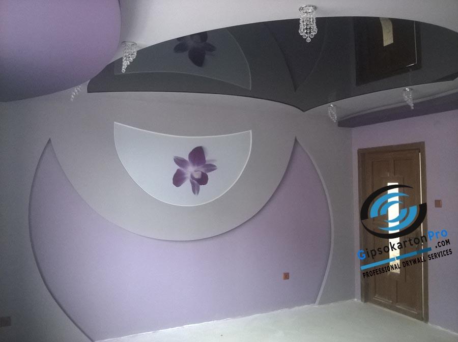 Комбинация между опънат таван и гипсокартон в спалня