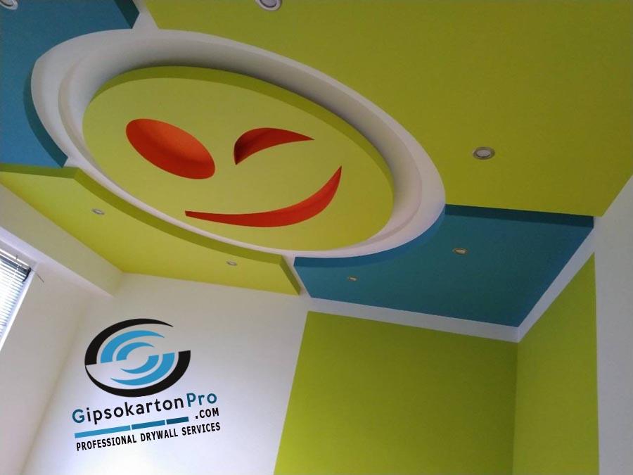 Окачени тавани за детска стая тюркоаз и жълто