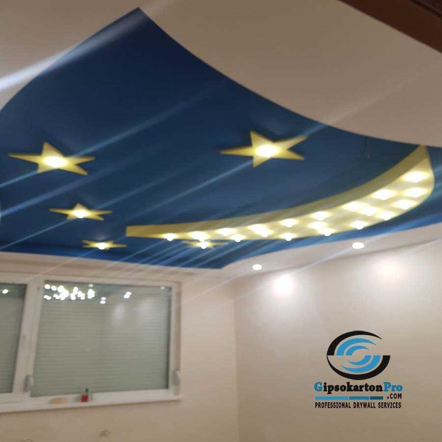 Идеи за окачен таван за детска стая . Луна и звздички . Скрито осветление
