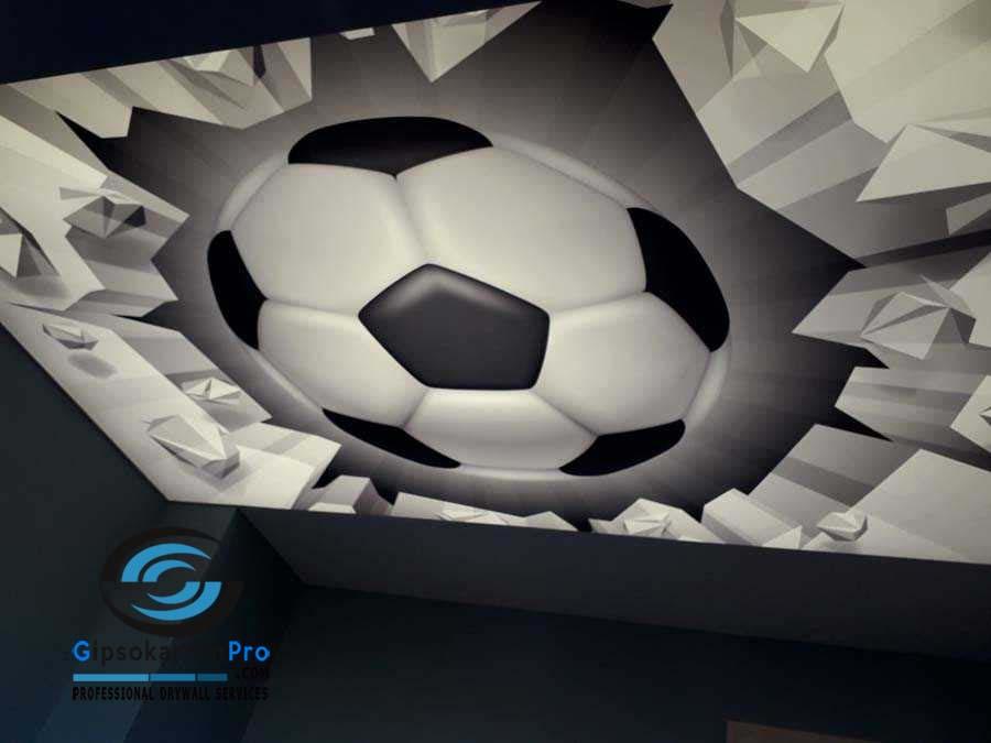 Опънати тавани със светеща футболна топка в детска стая 2