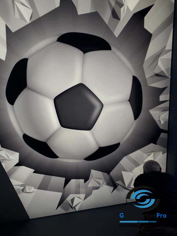 Опънати тавани със светеща футболна топка в детска стая 1