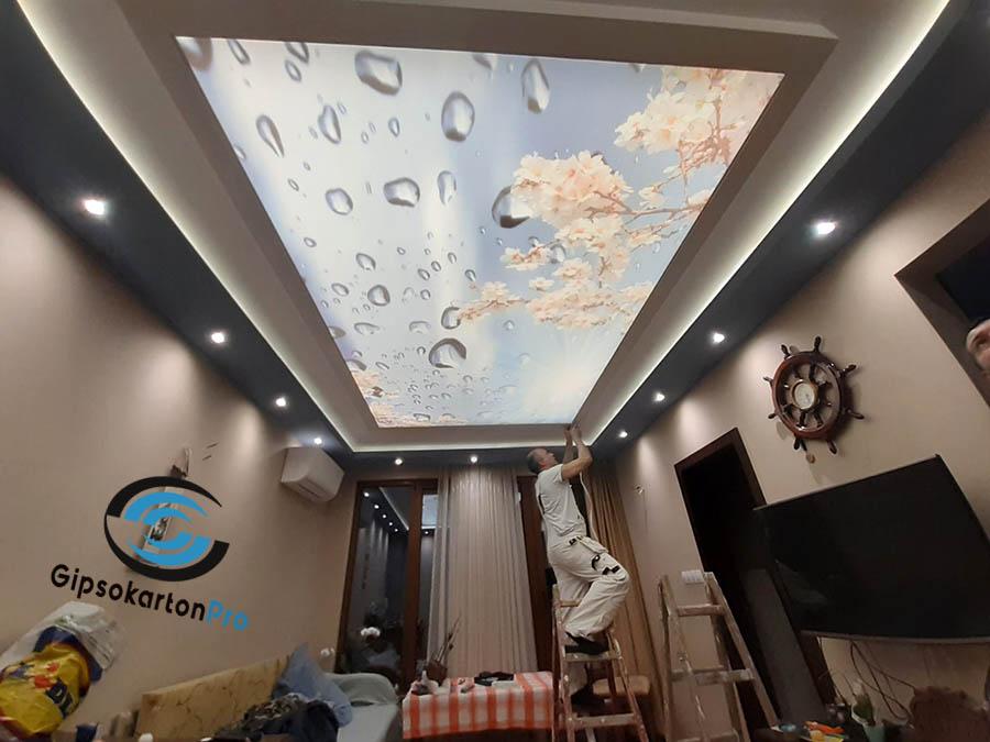 Окачен таван в комбинация с опънат таван . Обект Варна ул. Ж.Кюри
