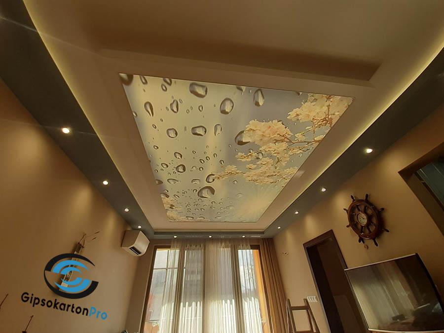 Окачен таван от гипсокартон в комбинация с опънат таван . Обект Варна ул. Ж.Кюри
